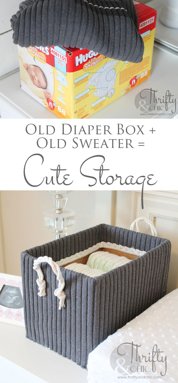 Diy Crafts Cute Storage Boxes Made From Old Boxes And Sweaters