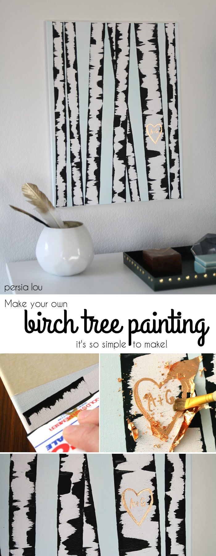 DIY Birch Tree Painting - Make your own wall art with this SUPER easy step-by-st...