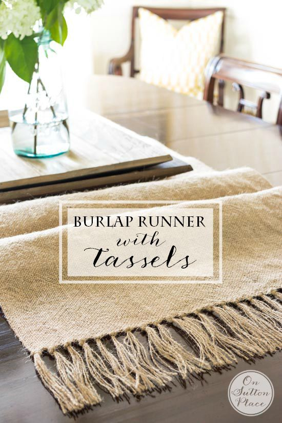 DIY Burlap Table Runner with Tassels | Easy, no sew step-by-step tutorial with p...