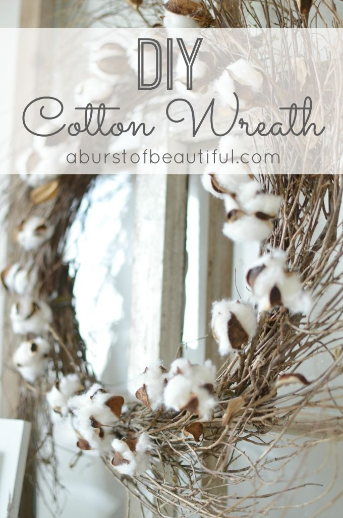 DIY Cotton Wreath featured on Ella Claire.