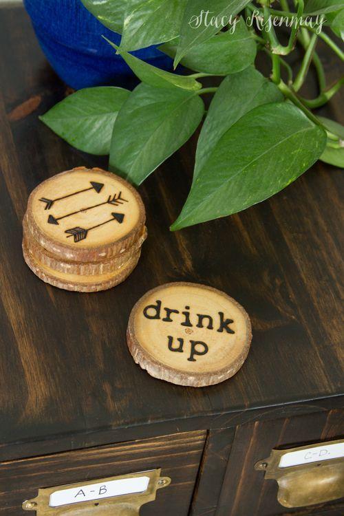 DIY Drink Coasters #coasters #drinkcoasters #woodburning #woodslices #diy #woodp...
