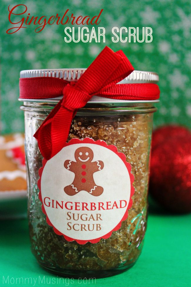 DIY Gingerbread Sugar Scrub - includes printable labels. Great homemade Christma...