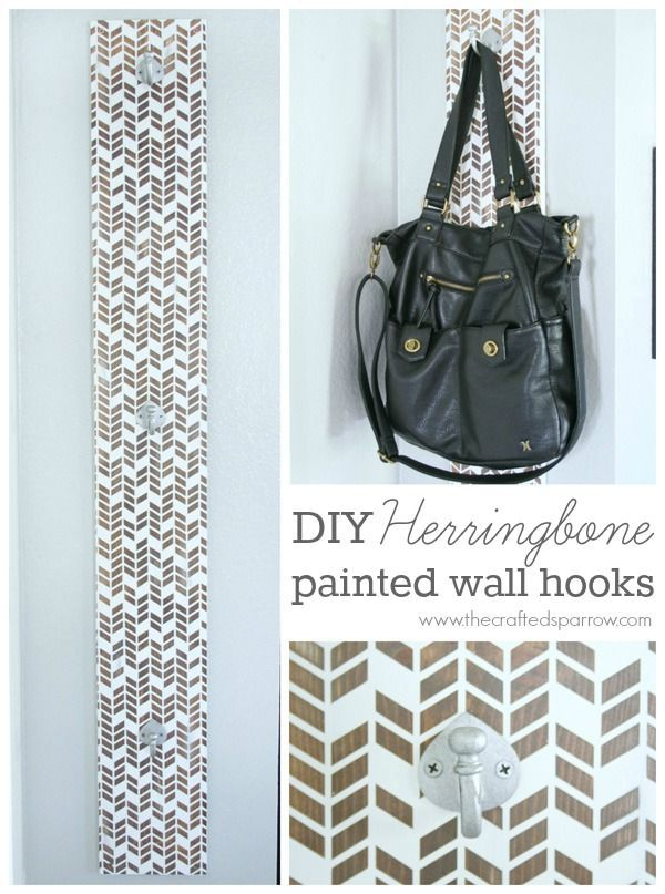 DIY Herringbone Painted Wall Hooks  |  #ad #cricut