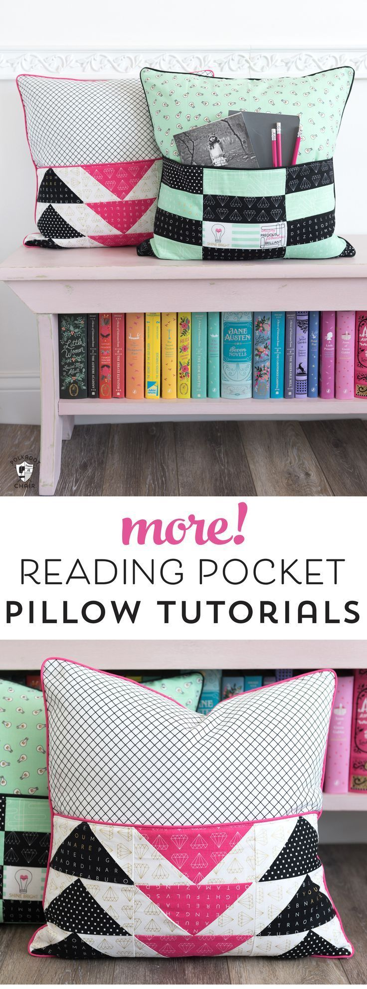 DIY Reading Pillow with Pocket free sewing pattern and tutorial. Learn how to ma...
