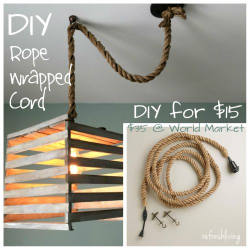 DIY Rope Pendant Cord - save money by creating your own rope wrapped cord - hard...