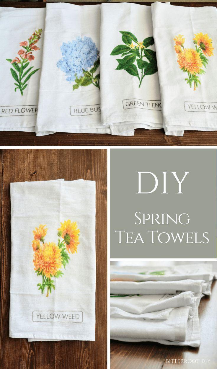 Diy Crafts Diy Spring Tea Towels Kitchen Towels Funny Tea