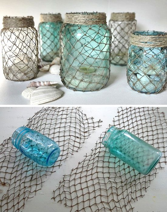 Diy Crafts Decorative Fisherman Netting Wrapped Jars Click Pic