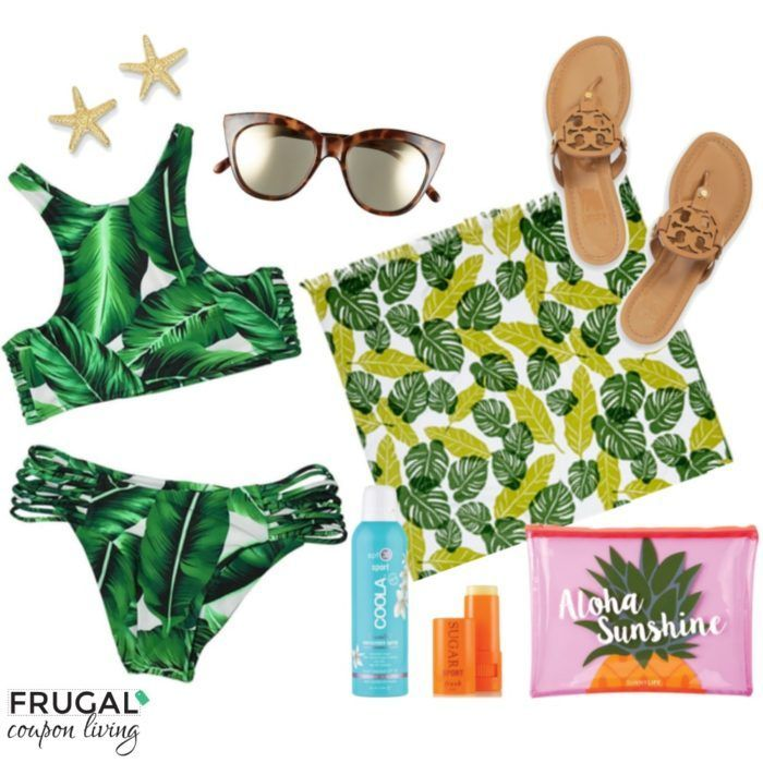 Frugal Fashion Friday Palm Leaves Swimsuit Beach Outfit. Summer Fashion. Summer ...
