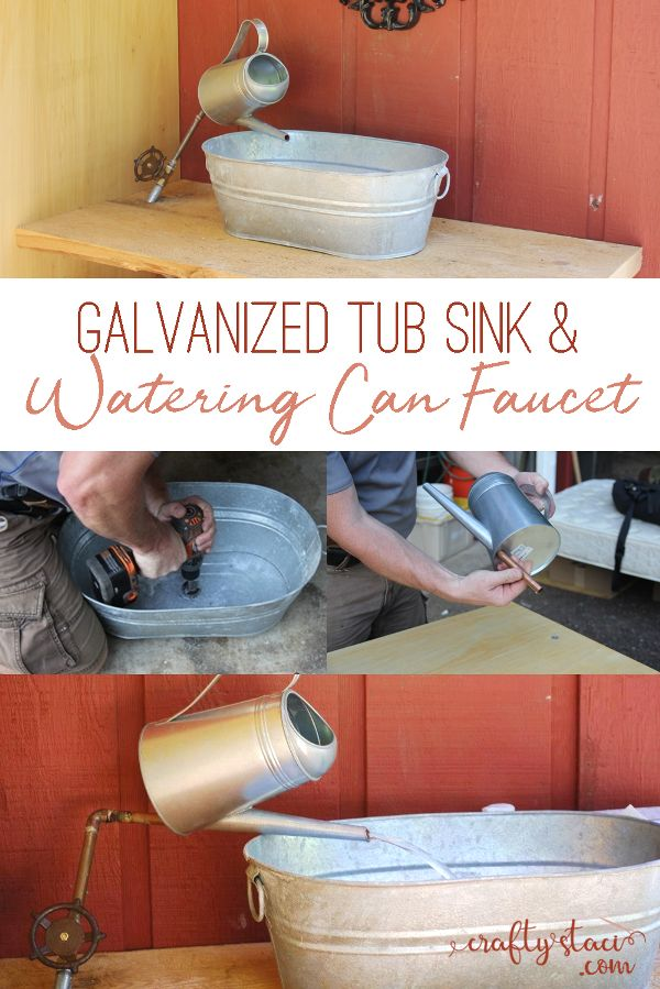 Galvanized Tub Sink and Watering Can Faucet on craftystaci.com #diy #homeimprove...