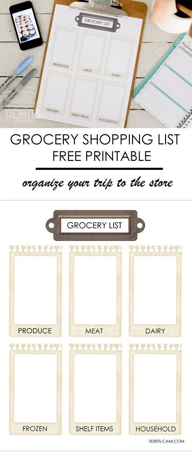 Grocery shopping list printable - perfect for organizing your trips to the store...
