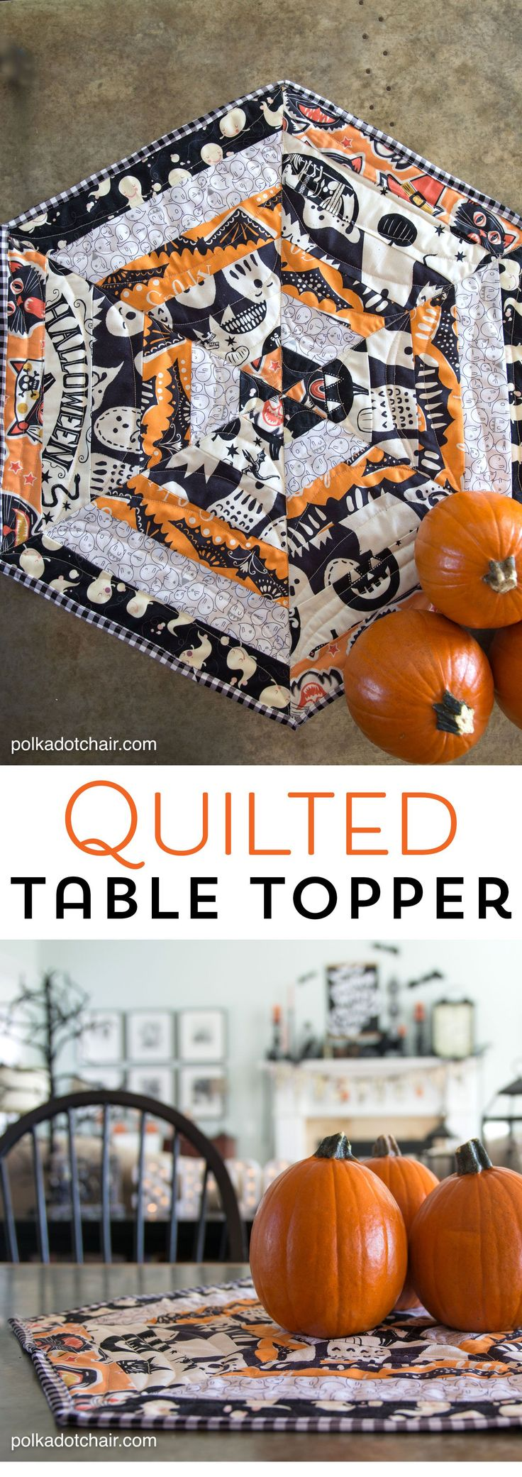 Halloween Quilted Table Topper Sewing Tutorial, so cute you could change out the...