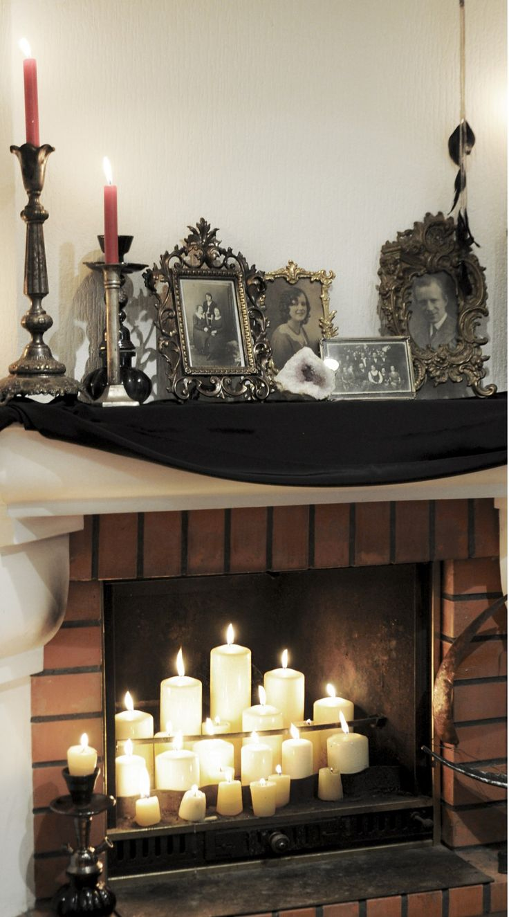 Diy Crafts Halloween Decor Ideas Candle Lit Fireplace And
