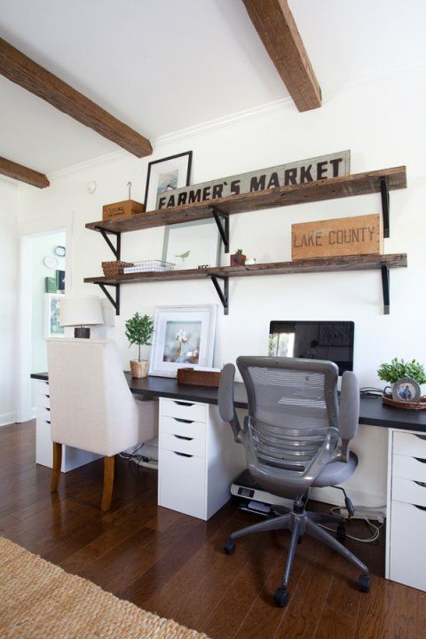 Home Office | Ikea Desk | Farmhouse | Cottage Style | Decorating  Alex base cabi...