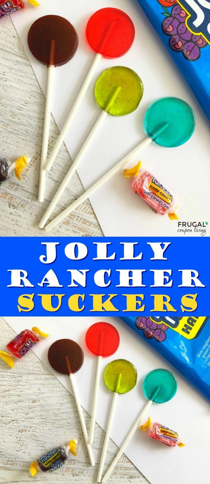 Homemade Jolly Rancher Suckers. This lollipop recipe is easy to make! #FrugalCou...