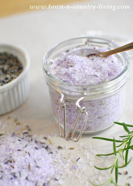 How to Make Lavender Rosemary Bath Salts; it provides a variety of benefits, inc...