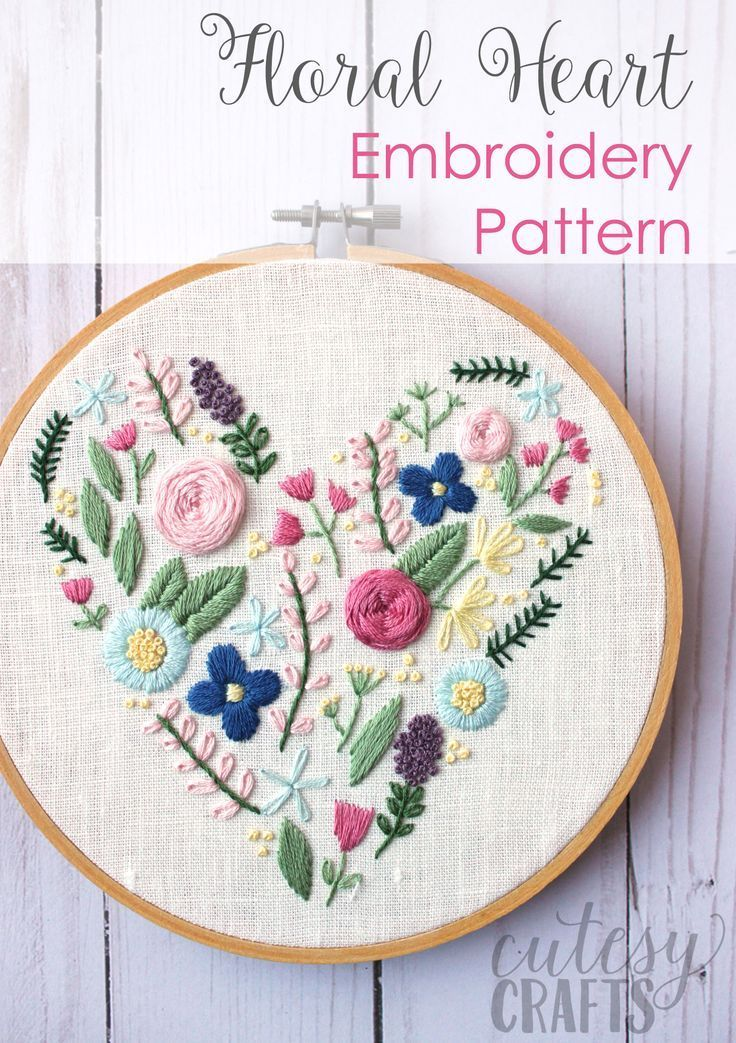 Learn hand embroidery stitches with this beautiful free floral heart embroidery ...
