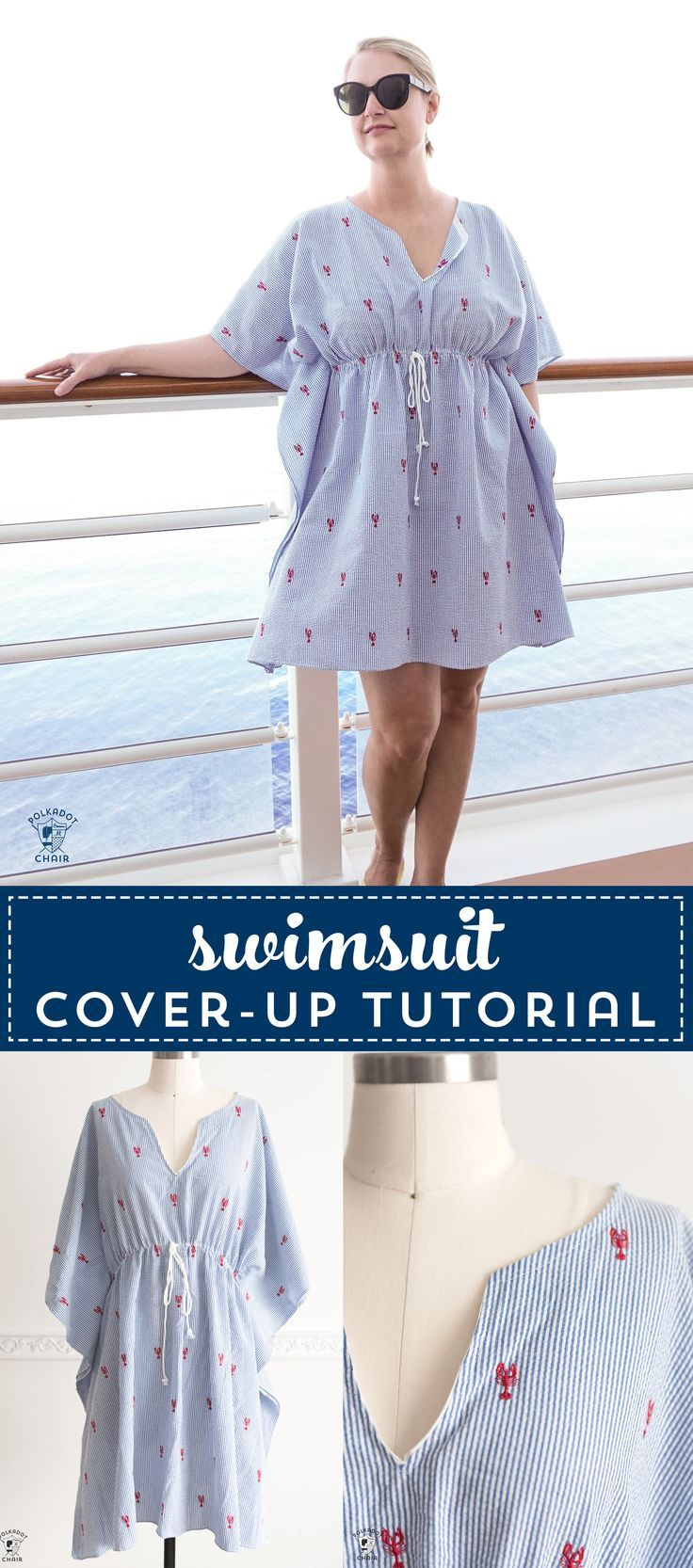 Learn how to make an easy and cute swimsuit cover-up. So simple to sew. A great ...