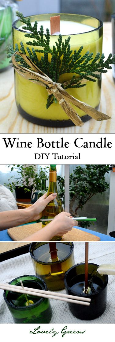 Learn how to make stylish handmade candles out of wine bottles and wooden wicks ...