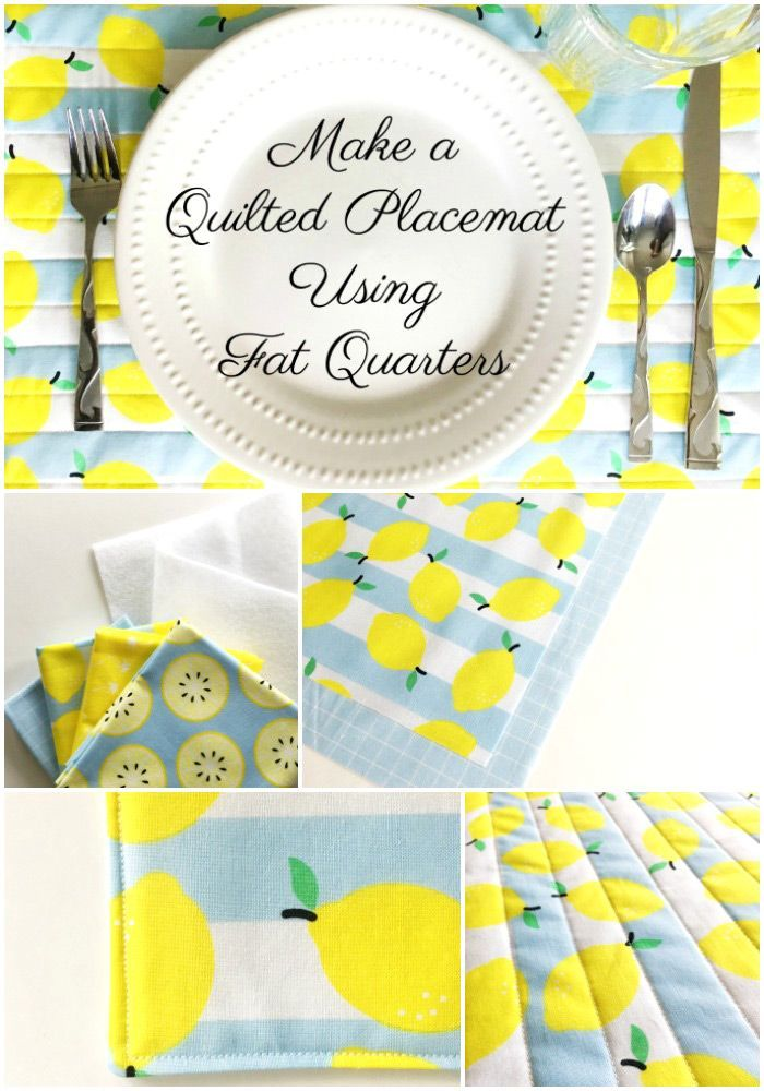 Learn how to sew quilted placemats with this free tutorial. A fun fat quarter pr...