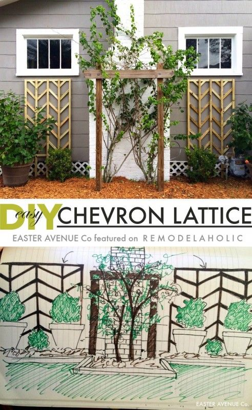 Make this easy to build chevron lattice to add height and interest to your flowe...