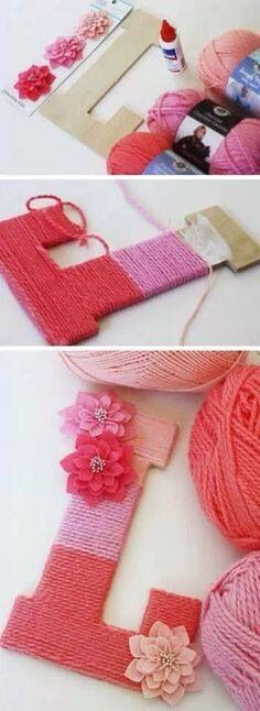 Ombré yarn wrapped letter... Could be fun for the reading room or the baby'...