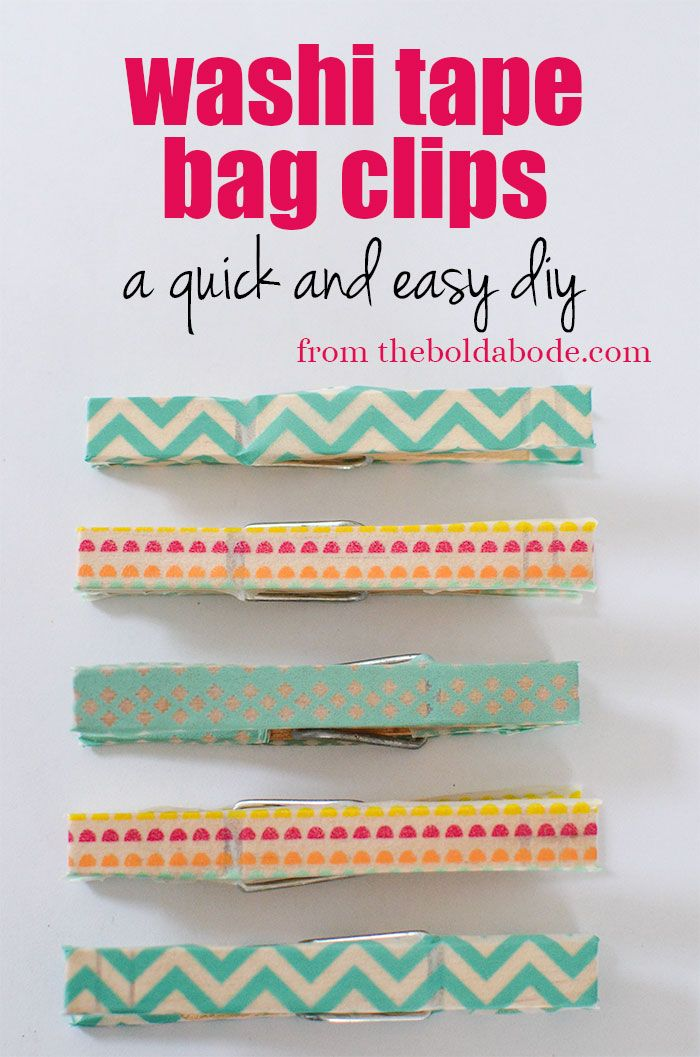 Put some clothes on your clothes pins, yo.  Make these super cute Washi Tape Bag...