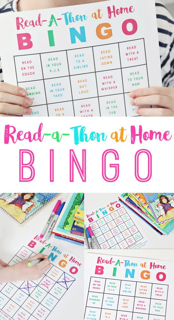 Read-A-Thon Bingo at Home to encourage summer reading! Kids will love this fun g...