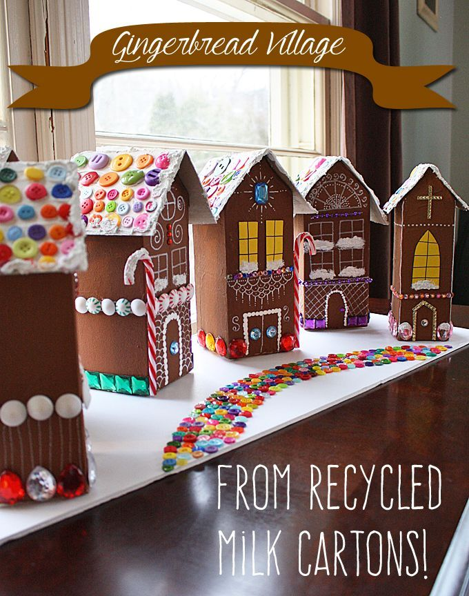 Diy Crafts Recycled Village Of Gingerbread Houses By Amanda