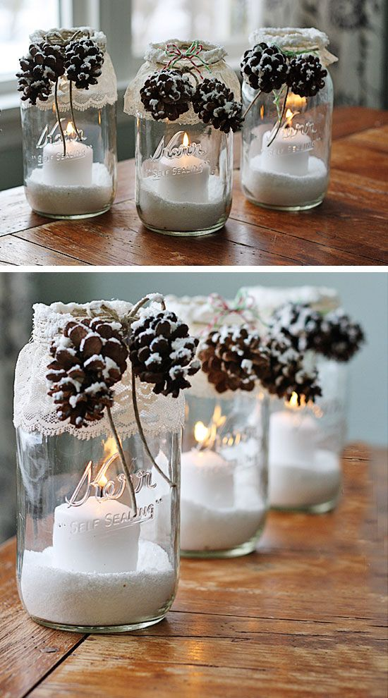 Diy Crafts Snowy Pinecone Candle Jars Click For 28 Easy