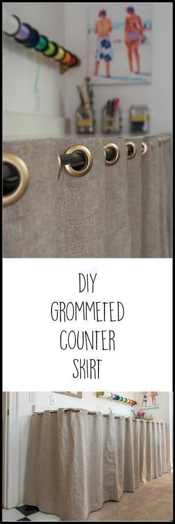 Step by step instructions and material needed to make a grommeted counter skirt....