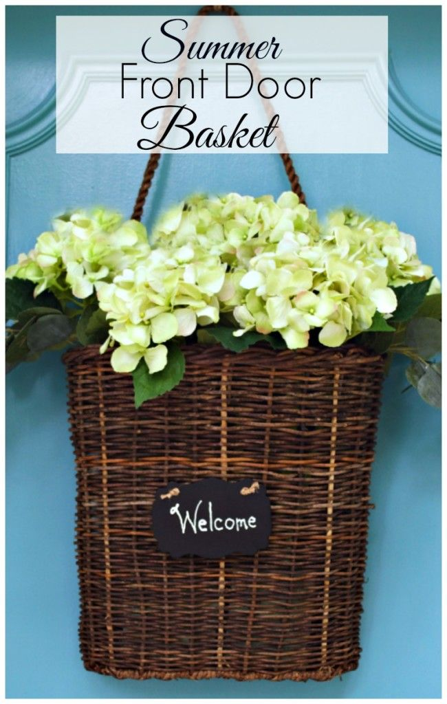 Summer front door basket filled with hydrangea. A quick and easy DIY project.  |...