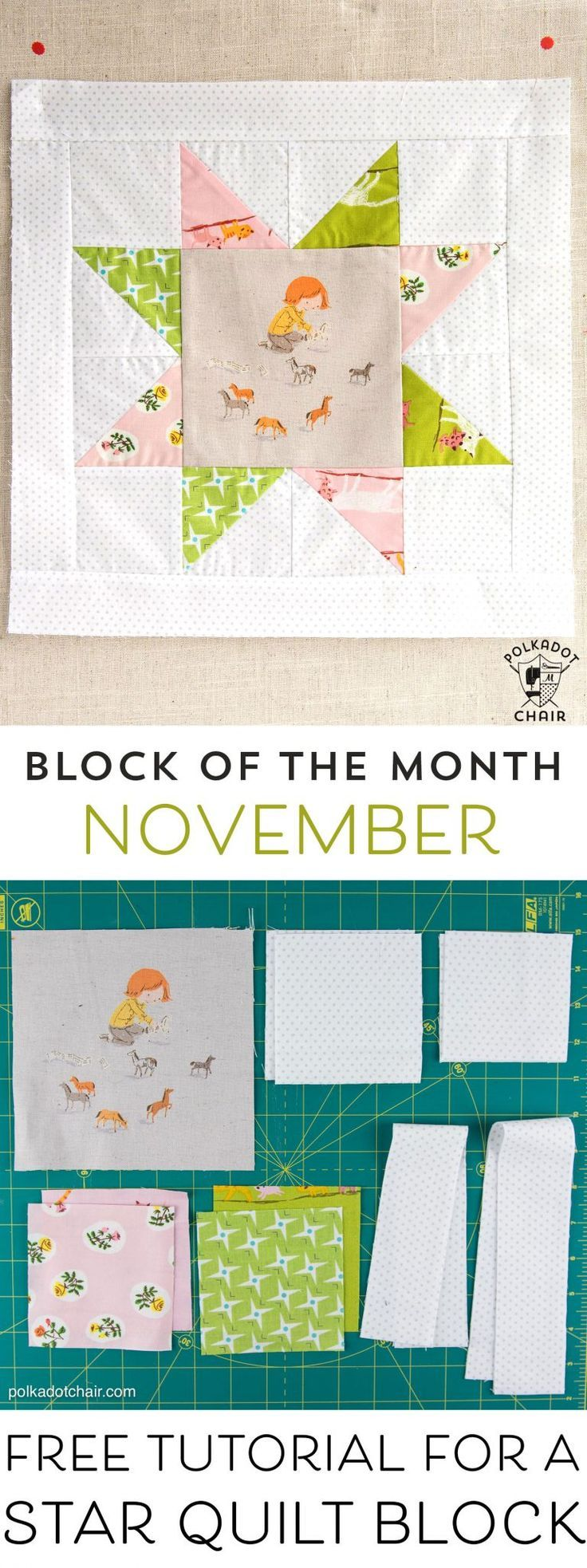 The November Quilt Block of the Month, a variation of a simple sawtooth star qui...