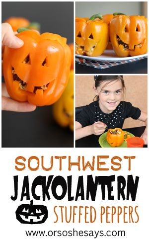 These jack-o'-lantern stuffed peppers are so easy and would make the most fun di...