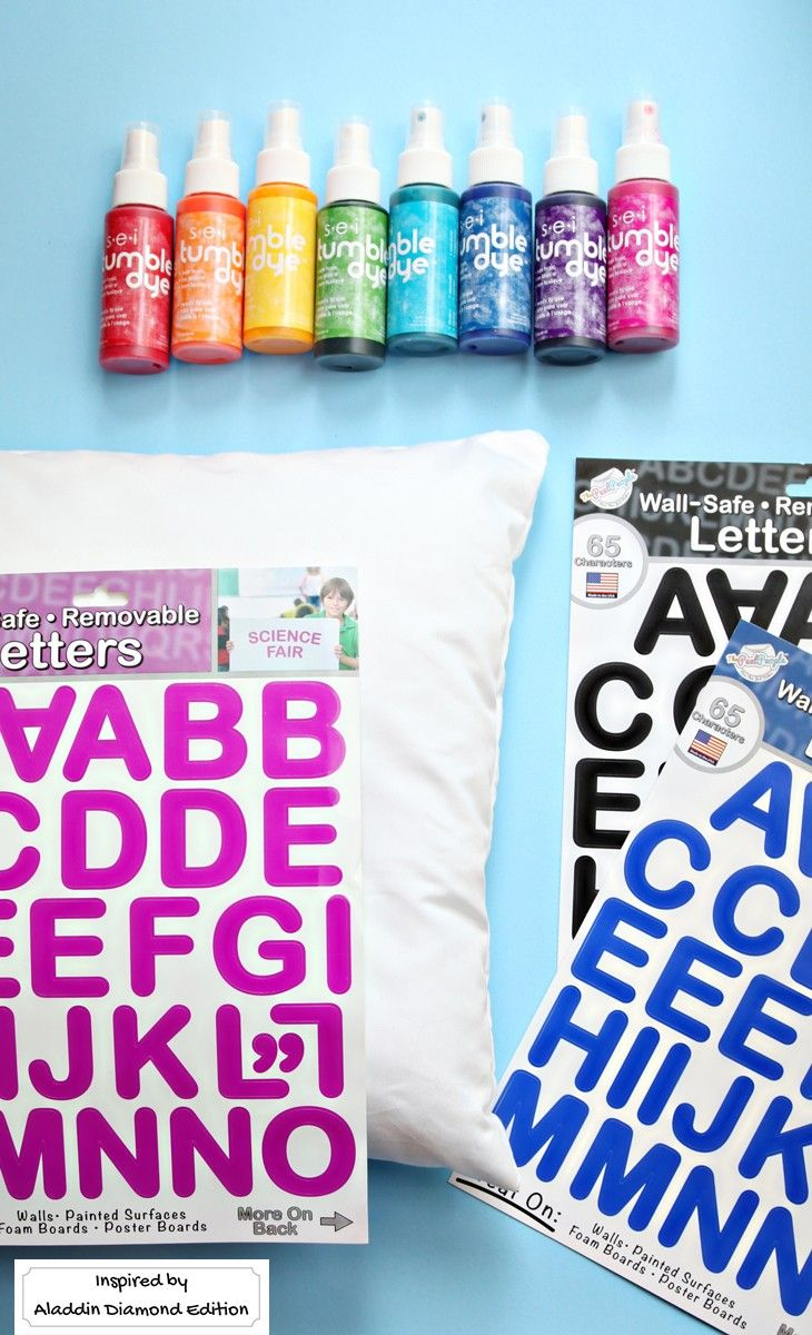 This DIY quote pillow is a cinch to make with a pillow, spray dyes, and sticky l...