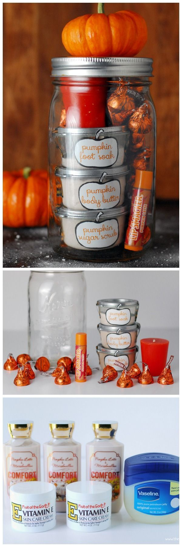 This Pumpkin Pampering mason jar gift is a homemade gift idea. It's a gift i...