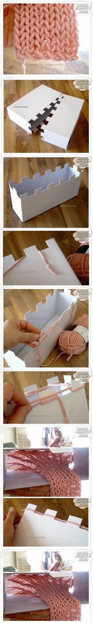 This is so brilliant! Looks like the box becomes a knitting frame.