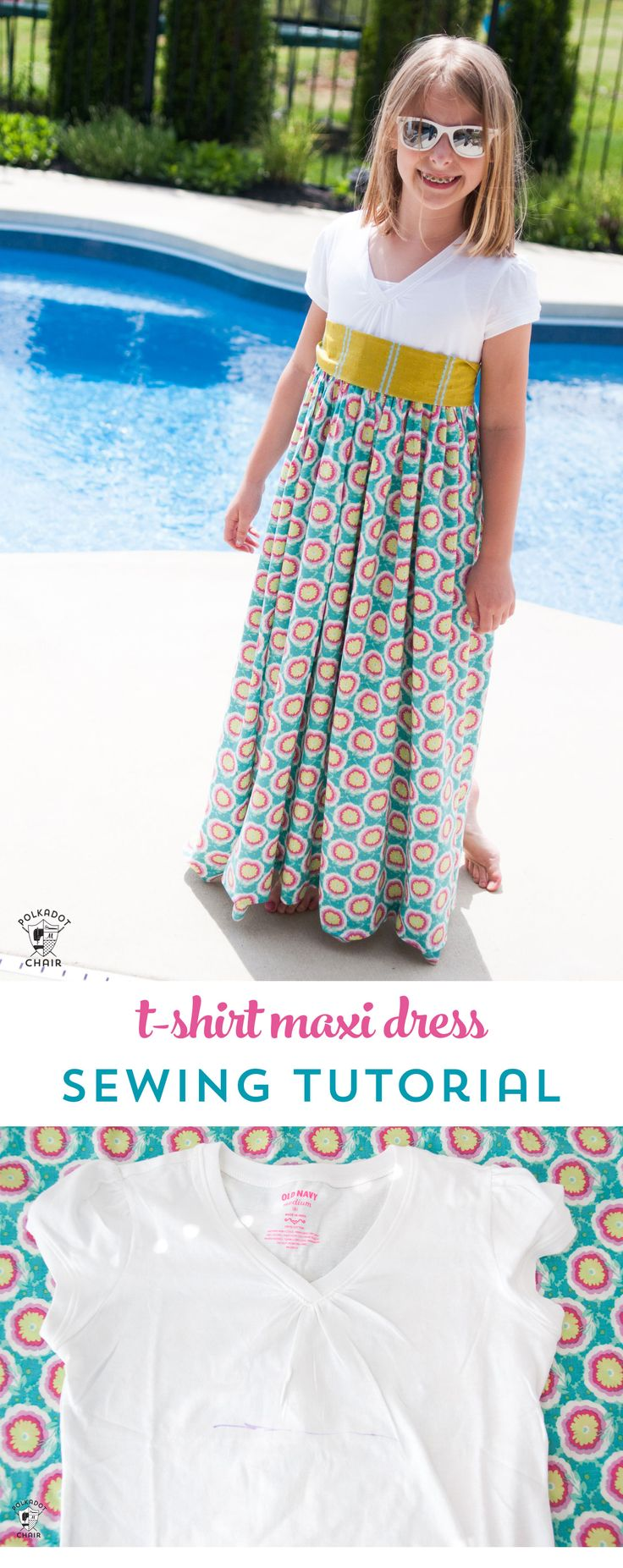Upcycle a T-shirt into a girls maxi dress with this sewing tutorial. A free patt...
