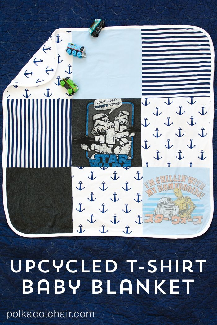 Upcycle your old or sentimental t-shirts into a receiving blanket for a new baby...