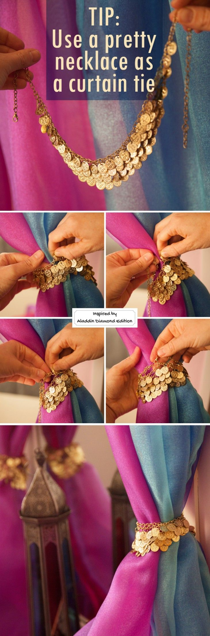 Use a pretty necklace instead of a curtain tie for your dresser mirror curtain D...