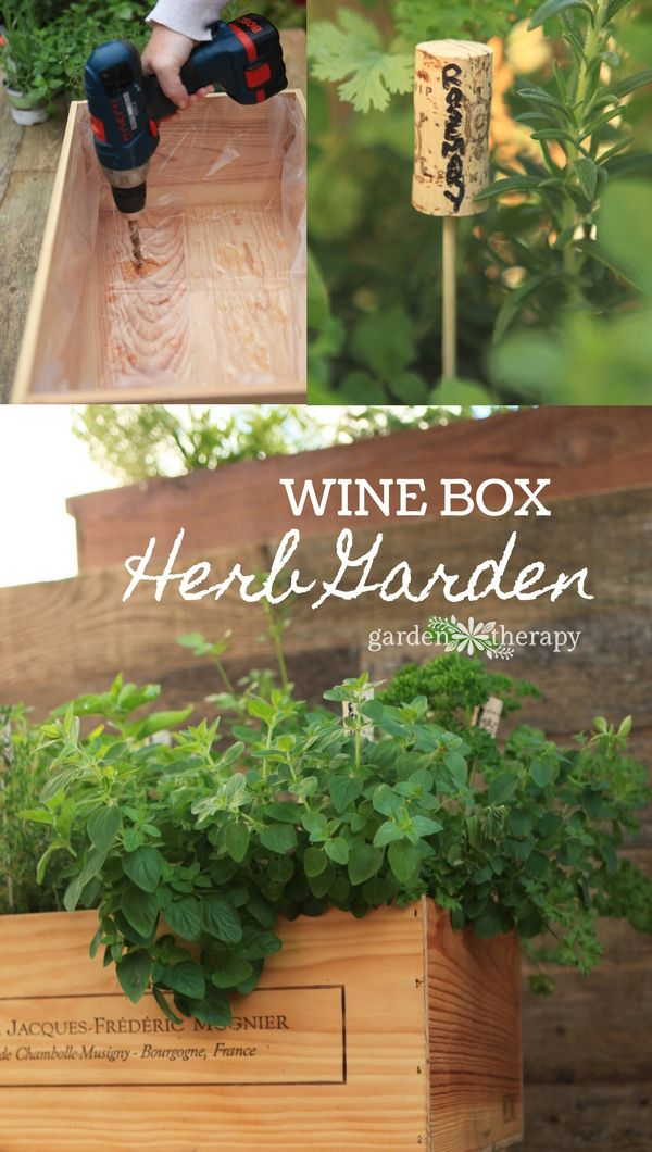 Wine Box Herb Garden DIY project - how to line the box and stain it so that it l...