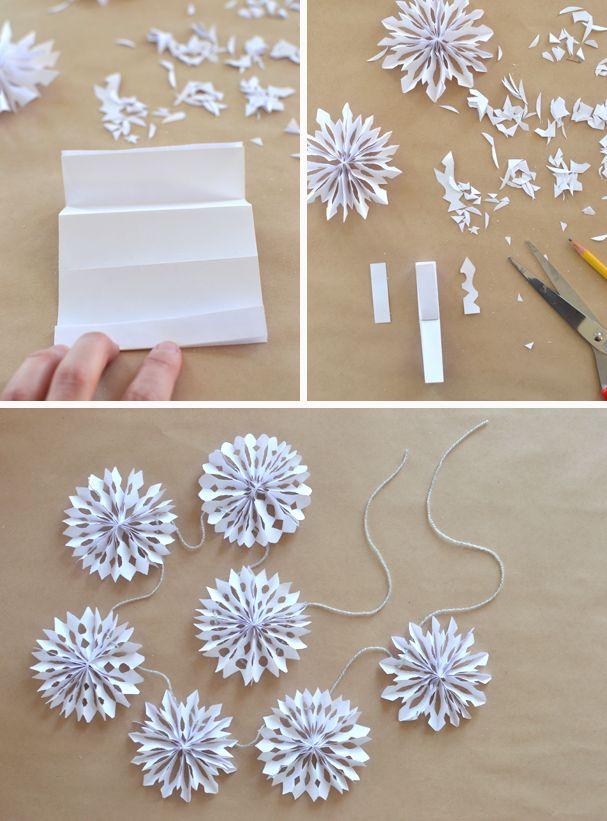Diy Crafts Make 3d Snowflakes Into A Garland Diyall Net Home