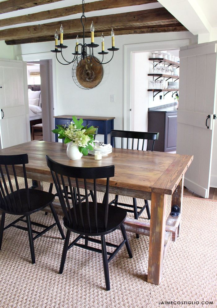 Build a faux barnwood dining table using off the shelf lumber combined with a fe...