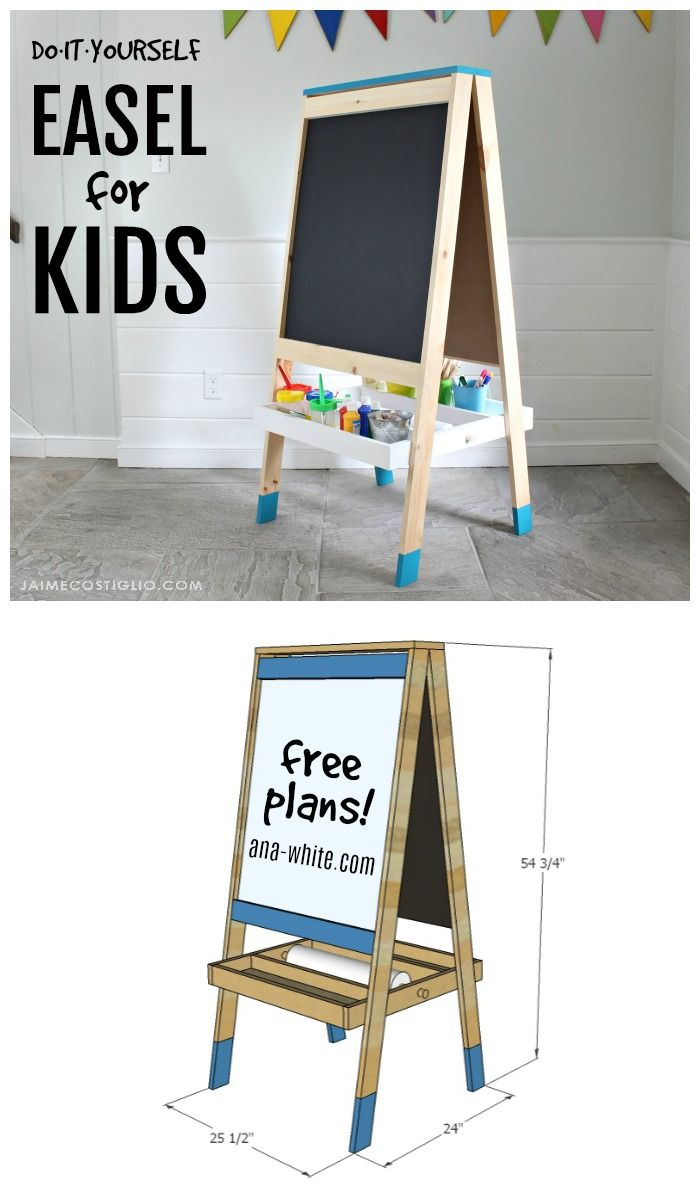 Build an art easel for kids with free plans.  Give your kids a place to draw, pa...