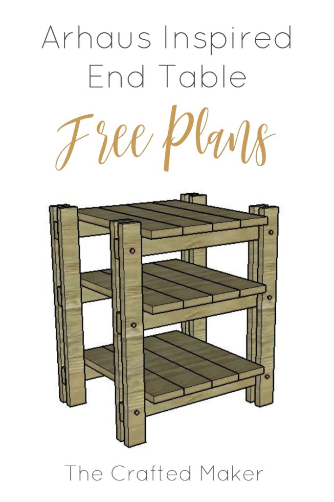 Build this DIY Arhaus inspired end table! Easy build with just a few sizes of wo...