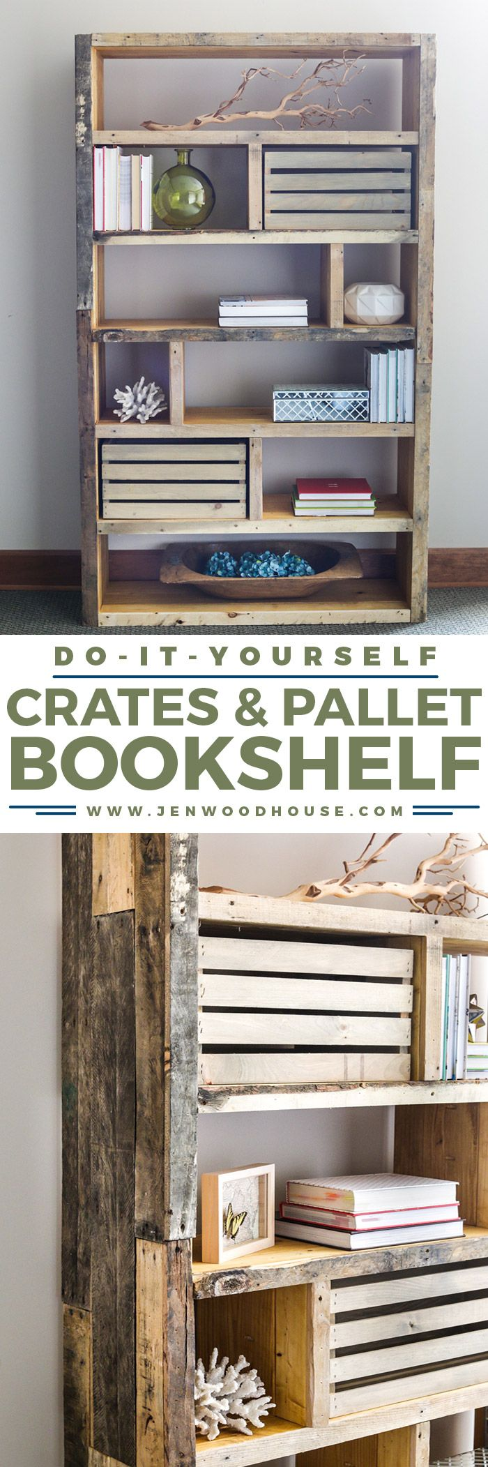 Build this beautiful and rustic bookshelf with reclaimed pallet wood and crates....