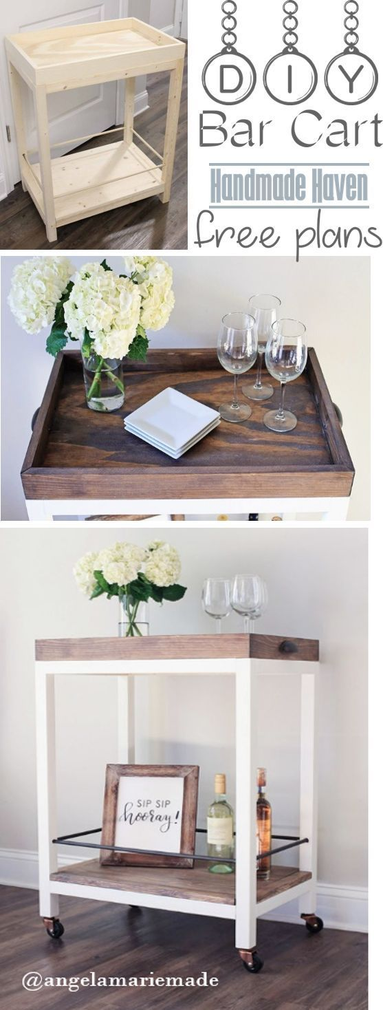 Follow this Step by Step tutorial on How To on build this easy DIY Bar Cart - Fr...