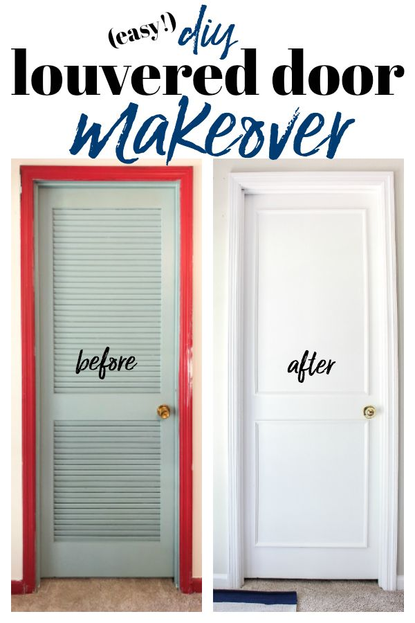 DIY Louvered Closet Door Makeover - how to cover louvered doors #doormakeover #c...