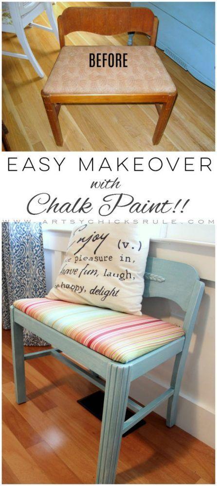 Easy Vanity Chair Update... with Chalk Paint! artsychicksrule.com #vanitychair #...