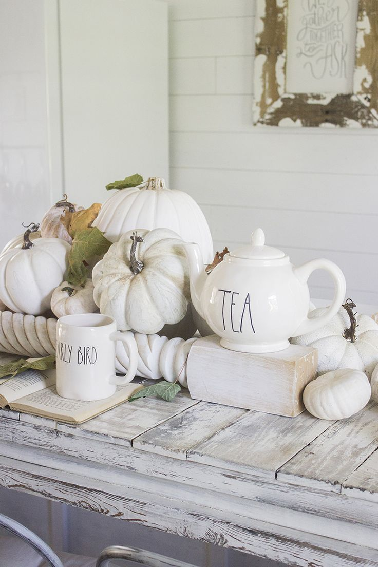 Fall Farmhouse - Neutral Fall DIY - White Pumpkin Decor - Thanksgiving Tablescap...