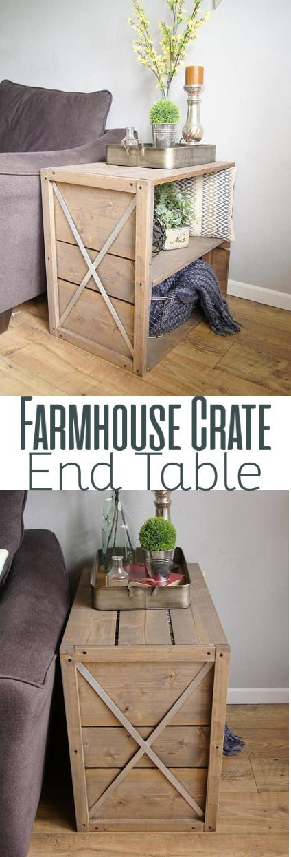 Find your DIY Farmhouse Crate End Side Table Woodworking Plans, here! #WoodWorki...